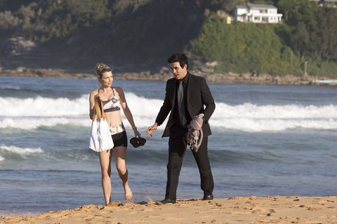 Justin Morgan checks on Scarlett Snow in Home and Away