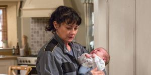 Moira Dingle struggles with baby Isaac in Emmerdale