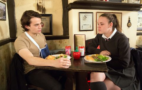 Seb Franklin confides in Faye Windass in Coronation Street