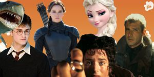PHOTOSHOP, movie plots cut from films Frozen, Jaws, Harry Potter, The Hunger Games, Lord of the Rings, Blade Runner