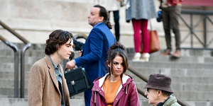 Timothe Chalamet, Selena Gomez and Woody Allen seen on location for Woody Allen's untitled movie at the Metropolitan Museum of Art on October 4, 2017