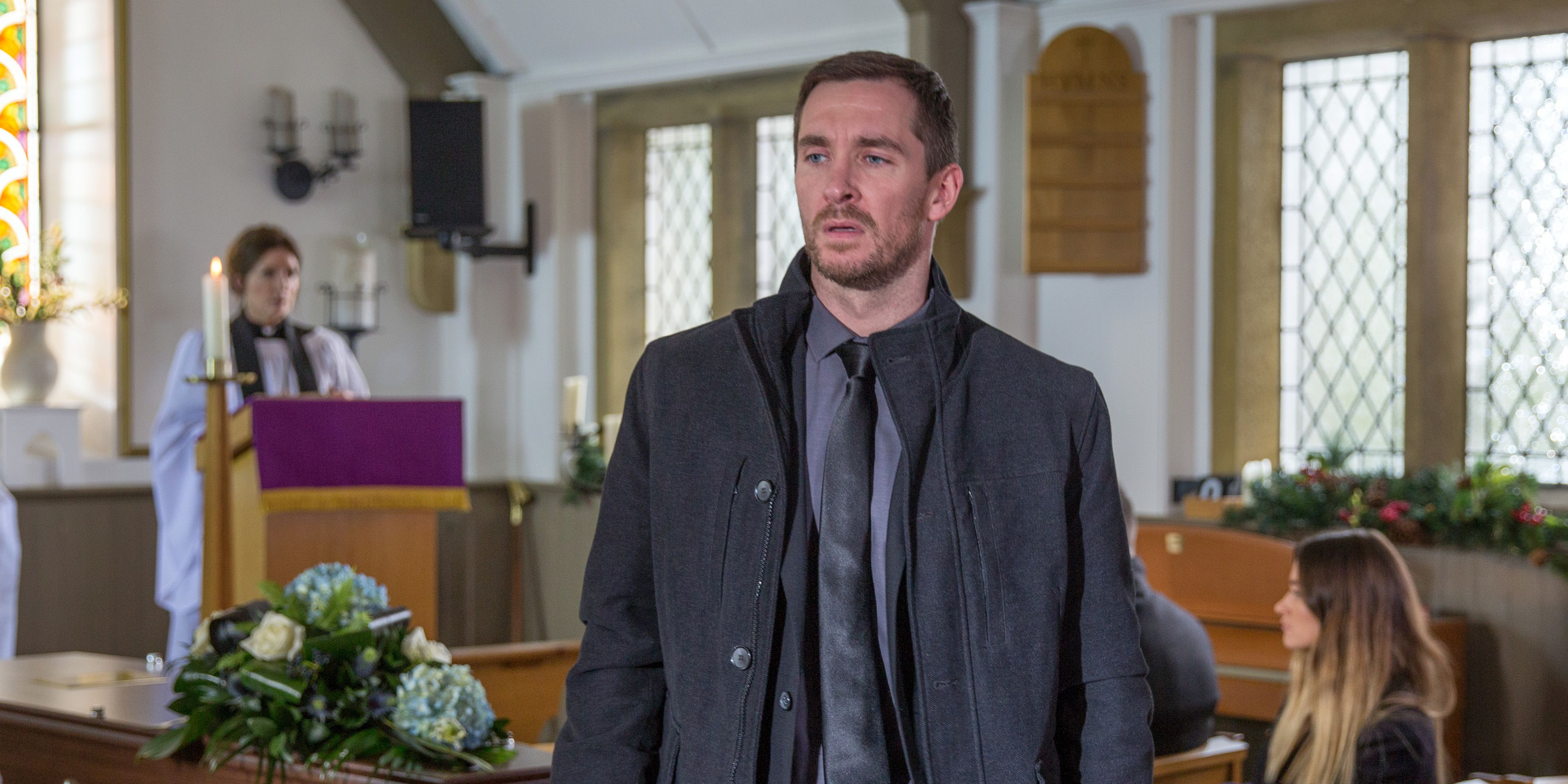 Ross Barton, Pete Barton and Debbie Dingle attend Emma's funeral in Emmerdale