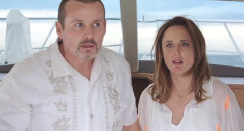 Toadie and Sonya Rebecchi on a boat in Neighbours