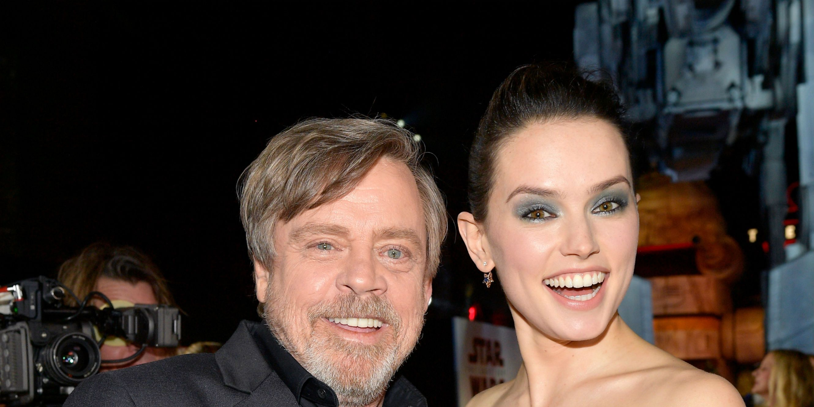 Mark Hamill and Daisy Ridley attend the premiere of Disney Pictures and Lucasfilm's 'Star Wars: The Last Jedi'