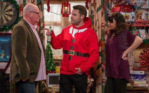 Paddy Kirk, Chas Dingle and Aaron Dingle celebrate Christmas in Emmerdale