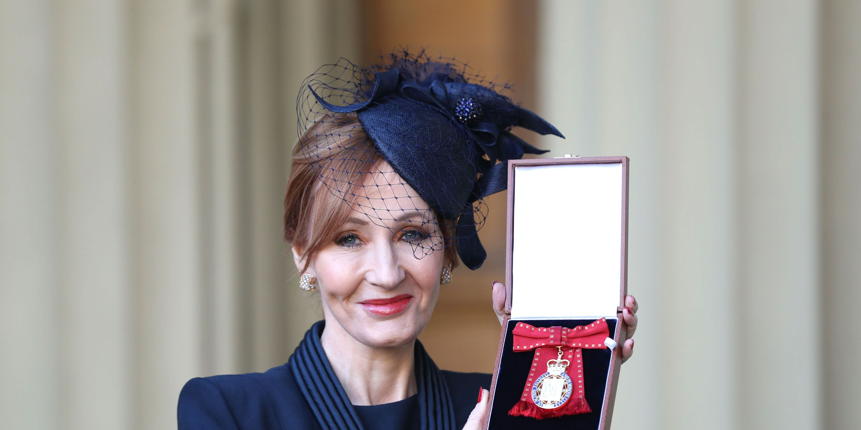 JK Rowling after she was made a Companion of Honour by the Duke of Cambridge during an Investiture ceremony at Buckingham Palace on December 12, 2017