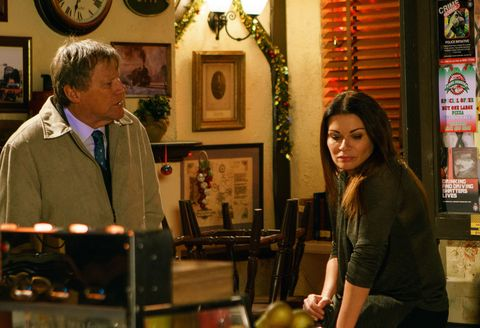 Carla Connor talks to Roy Cropper about her future in Coronation Street