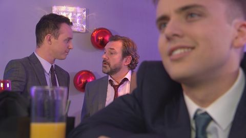 Harry Thompson is James Nightingale's date for a work event in Hollyoaks