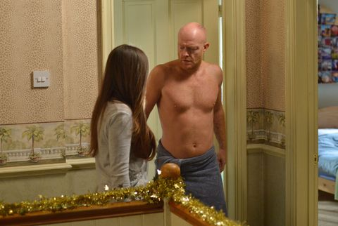 Stacey Fowler catches Max Branning coming out of the shower in EastEnders