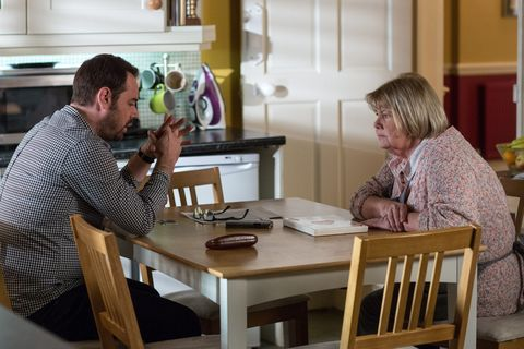 Aunt Babe tells Mick Carter that Lee is to blame for his financial troubles in EastEnders