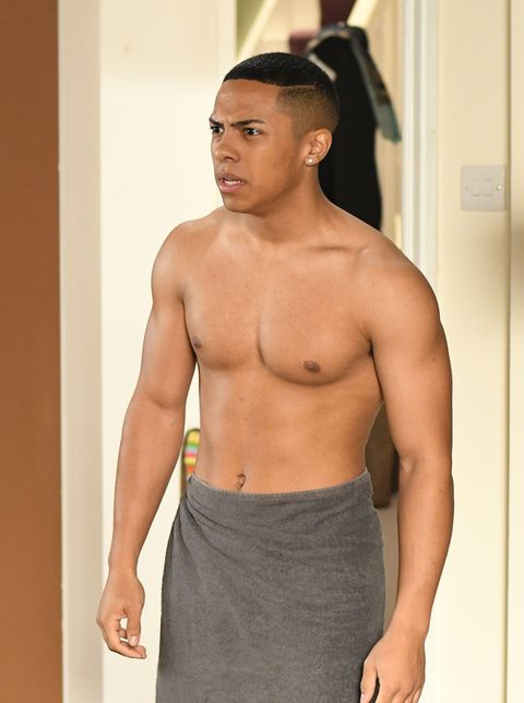 Keegan Baker comes out of a cold shower in EastEnders