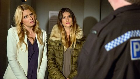 Debbie Dingle and Charity Dingle receive a visit from the police in Emmerdale