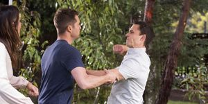 Mark Brennan and Jack Callahan fight publicly in Neighbours