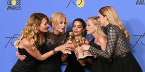 Laura Dern, Nicole Kidman, Zoe Kravitz, Reese Witherspoon and Shailene Woodley of 'Big Little Lies' at the Golden Globes 2018