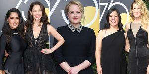 Golden Globes 2018, Salma Hayek, Ashlee Judd, Elisabeth Moss, activist Monica Ramirez, Laura Dern