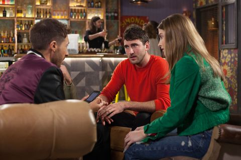Scott Drinkwell, Damon Kinsella and Lily Drinkwell are shocked by Maggie's bucket list in Hollyoaks
