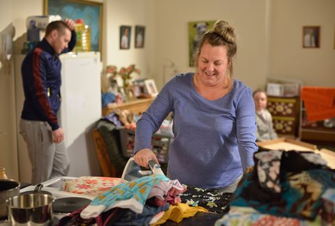 Karen Taylor does the ironing in EastEnders