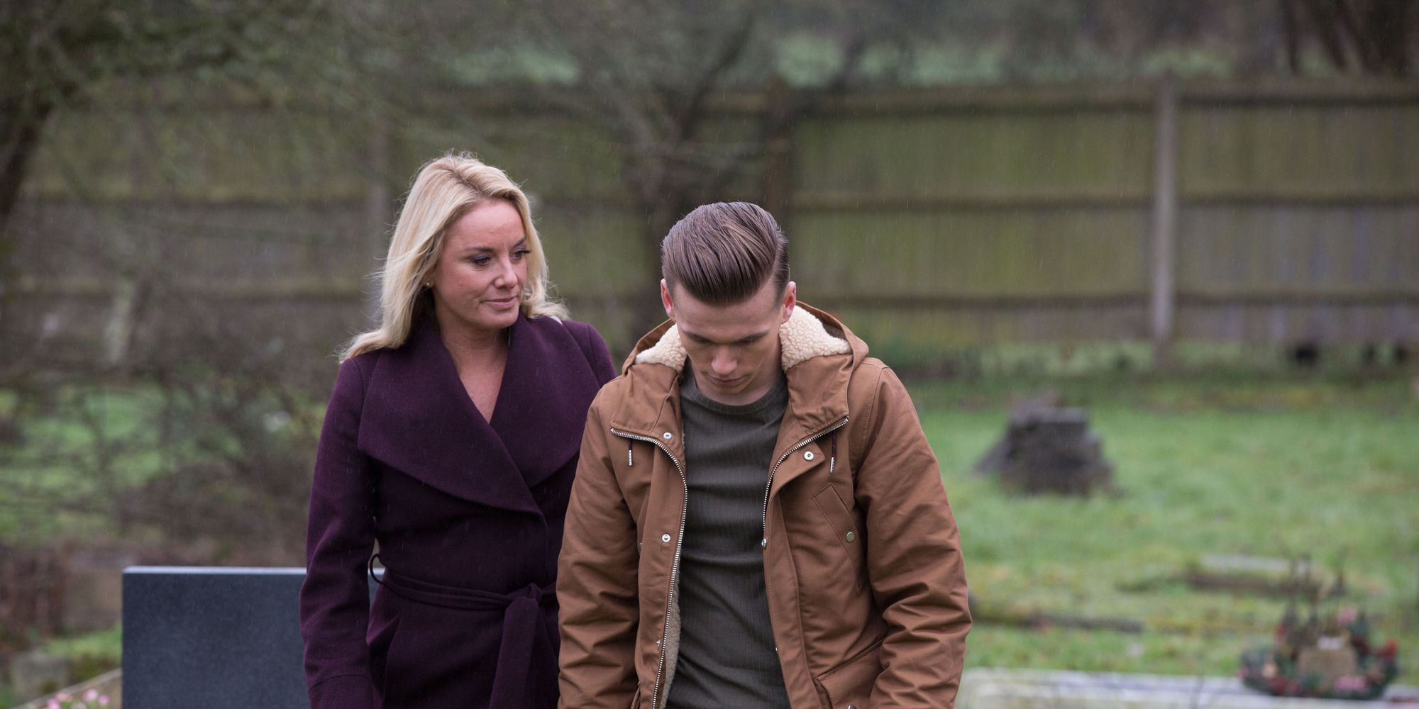 Mel Owen finds Hunter at his grandmother's grave in EastEnders