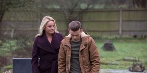 Mel Owen finds Hunter at his grandmother's grave in EastEnders