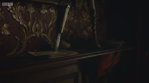 <p>In the original novels, Sherlock kept all of his unanswered letters on the mantelpiece, impaled by a jackknife – which got an appearance in 'The Abominable Bride'.</p>