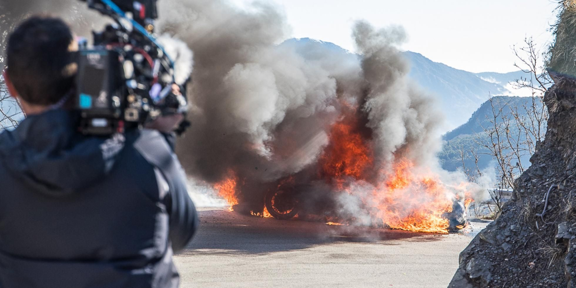 An Alpine sports car erupts in flames in Monaco while filming Top Gear
