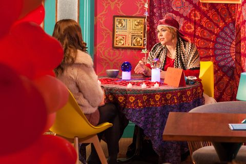 Myra McQueen gives Maxine Minniver some psychic advice in Hollyoaks
