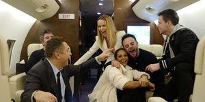 Britain's Got Talent judges having a laugh on a plane