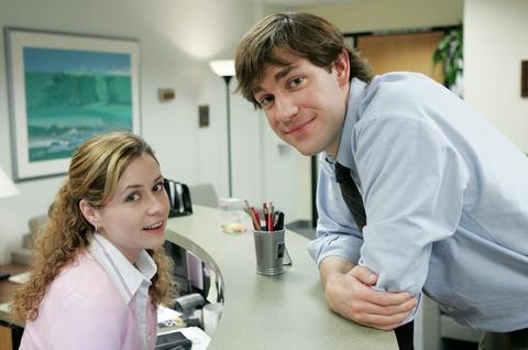 Jenna Fischer as Pam Beesly and John Krasinski as Jim Halpert in The Office