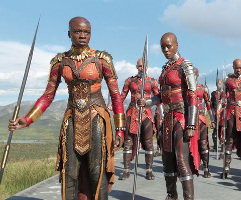 Black Panther, Danai Gurira as Okoye, Florence Kasumba as Ayo
