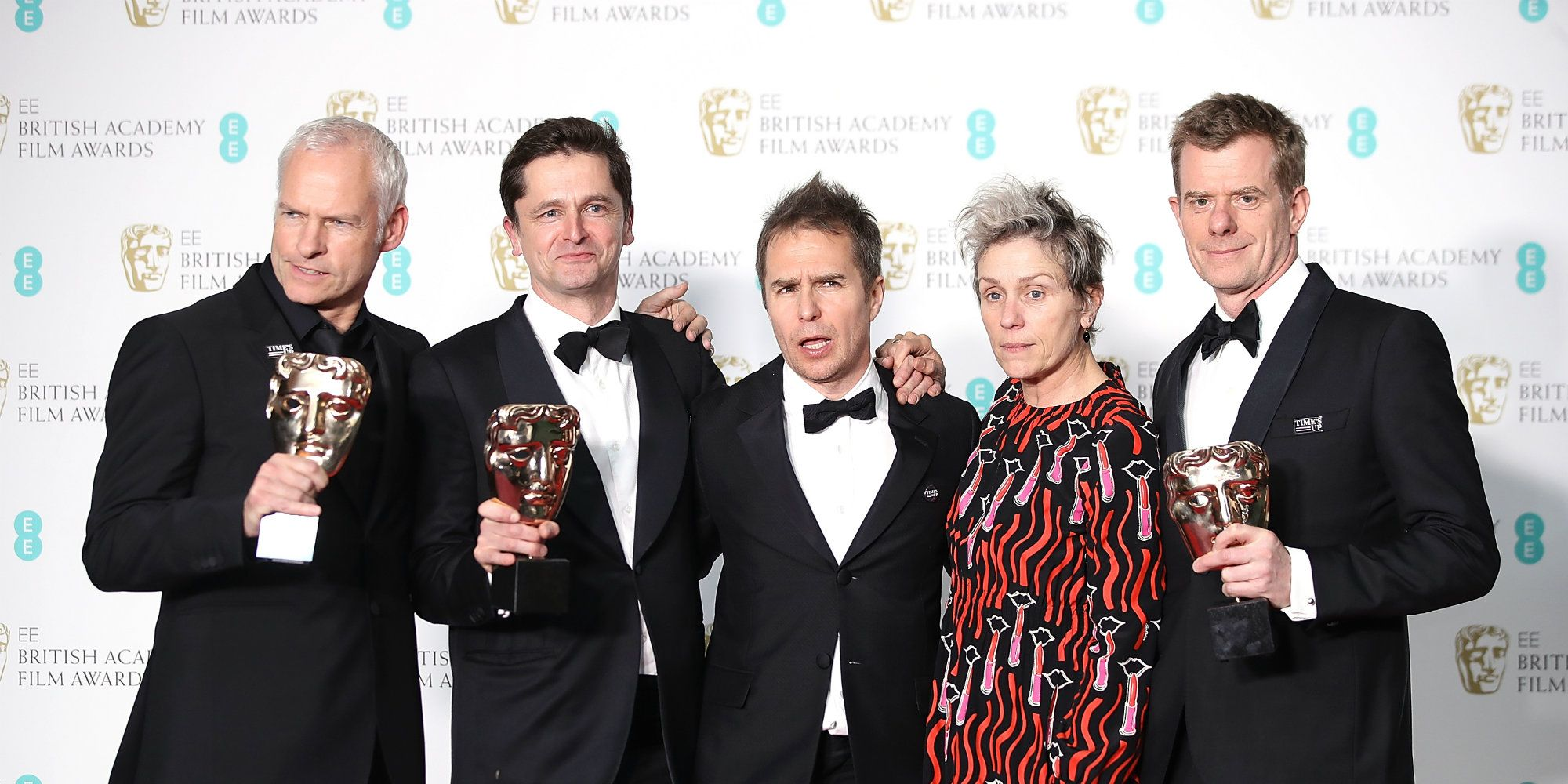 Martin McDonagh, Peter Czernin, Sam Rockwell, Frances McDormand and Graham Broadbent, accepting the Best Film award for 'Three Billboards Outside Ebbing, Missouri',