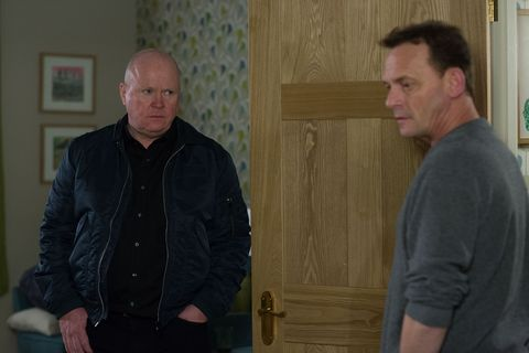 Phil Mitchell confronts Mel and Billy in EastEnders
