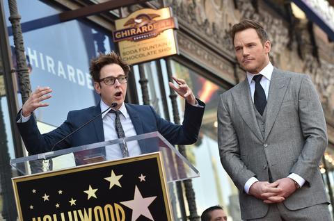 Writer/director James Gunn (L) and actor Chris Pratt attend the ceremony honoring Chris Pratt
