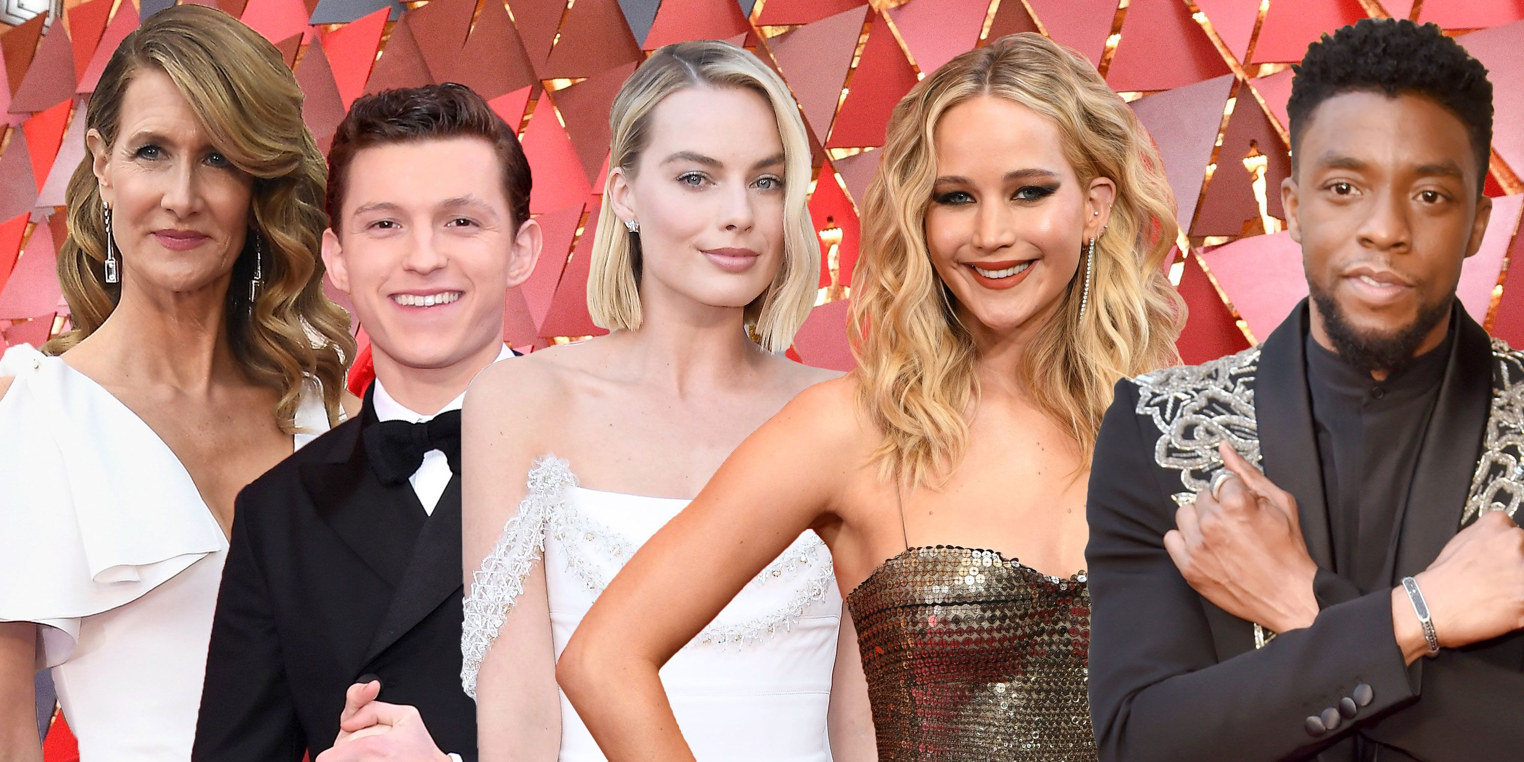 PHOTOSHOP, Oscars red carpet outfits, 2018, Laura Dern, Tom Holland, Margot Robbie, Jennifer Lawrence, Chadwick Boseman