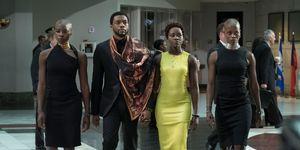 Okoye (Danai Gurira), T'Challa/Black Panther (Chadwick Boseman), Nakia (Lupita Nyong'o) and Ayo (Florence Kasumba), Black Panther