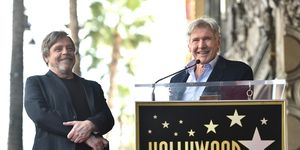 Mark Hamill is honoured with a star by Harrison Ford on the Hollywood Walk of Fame
