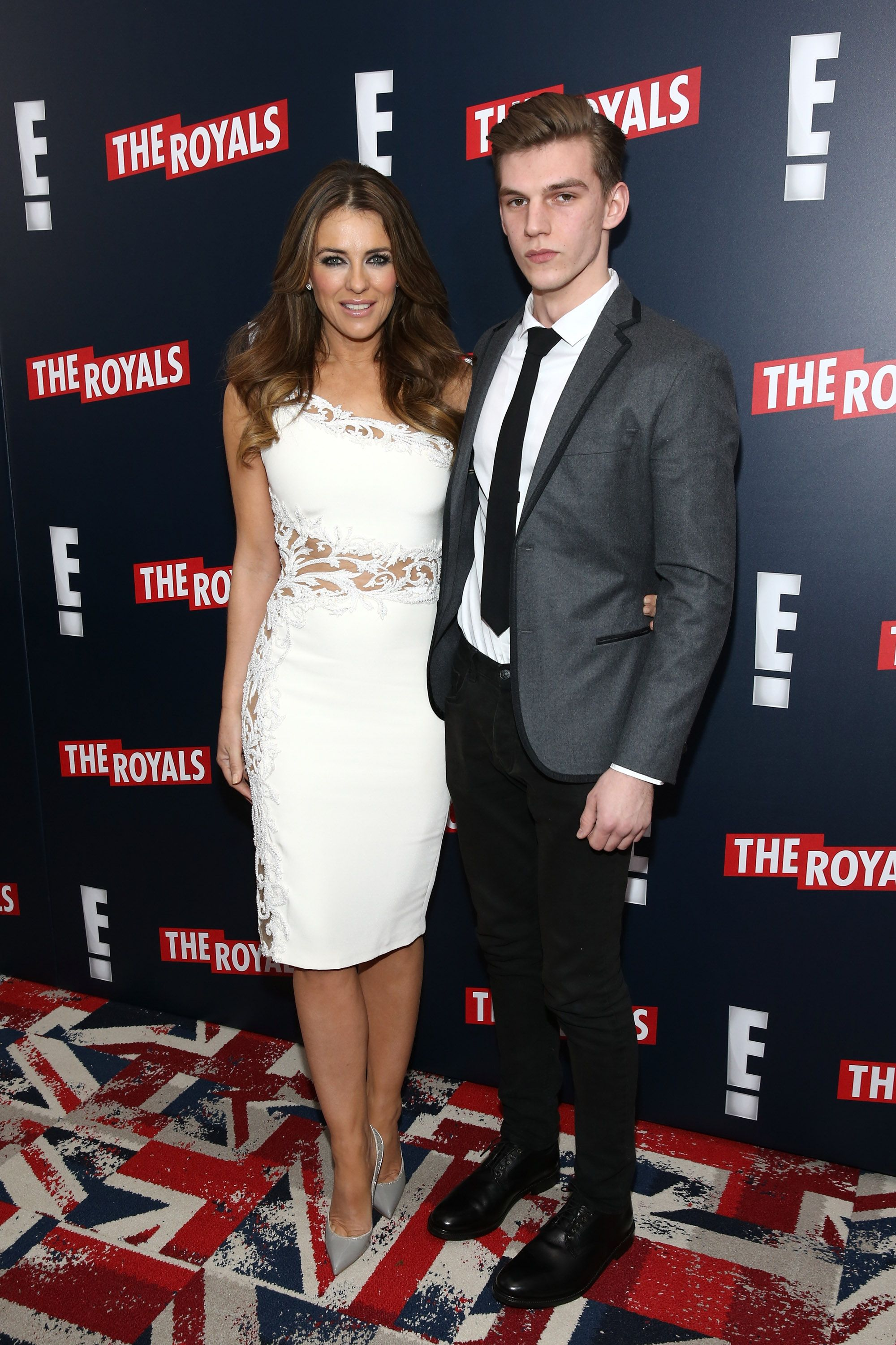 Elizabeth Hurley and Miles Hurley attend 'The Royals' New York Series Premiere