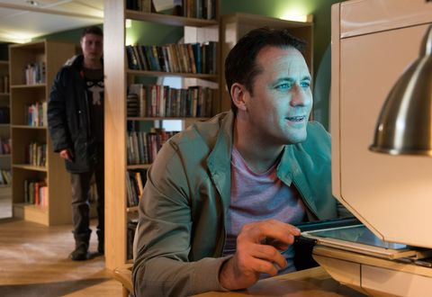 Milo Entwistle discovers Tony Hutchinson's detective work in Hollyoaks