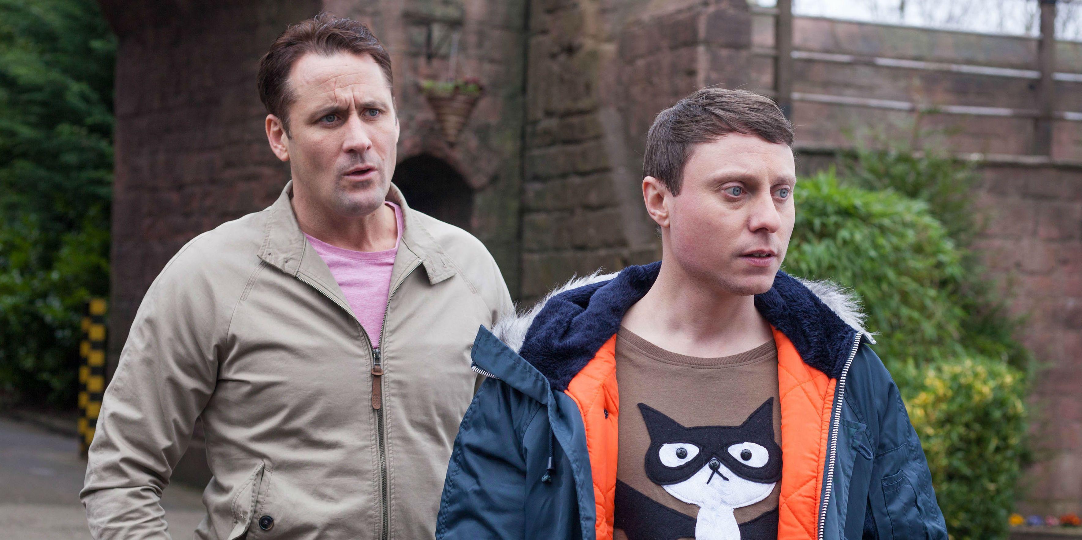 Tony Hutchinson and Milo Entwistle in Hollyoaks