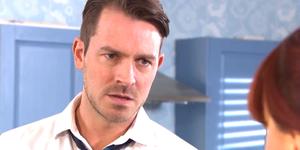 Darren Osborne reacts to Nancy's questioning in Hollyoaks
