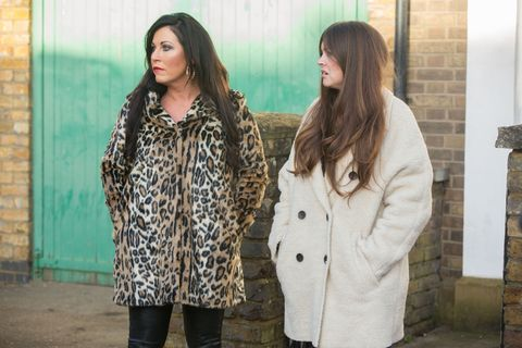 Kat Moon and Stacey Fowler struggle with the attention in EastEnders