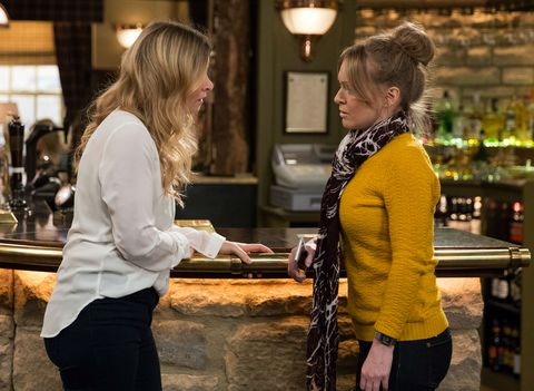 Vanessa Woodfield shares her fears with Charity Dingle in Emmerdale