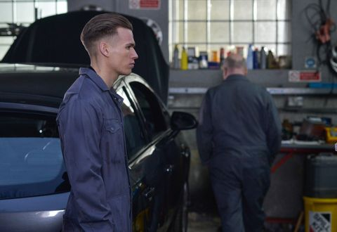 Hunter Owen spends time with Phil Mitchell at the garage in EastEnders