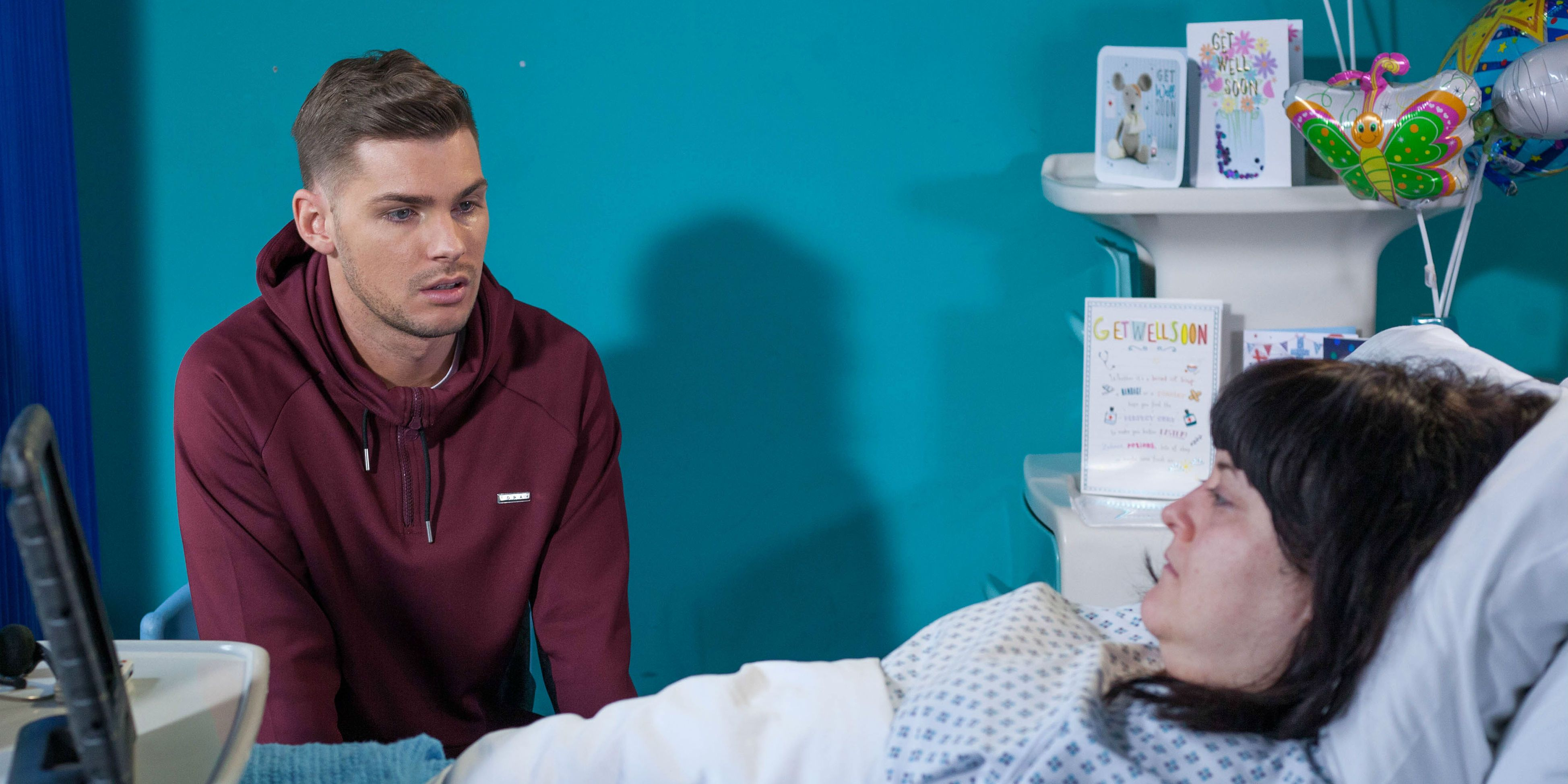 Tegan Lomax and Ste Hay at the hospital in Hollyoaks