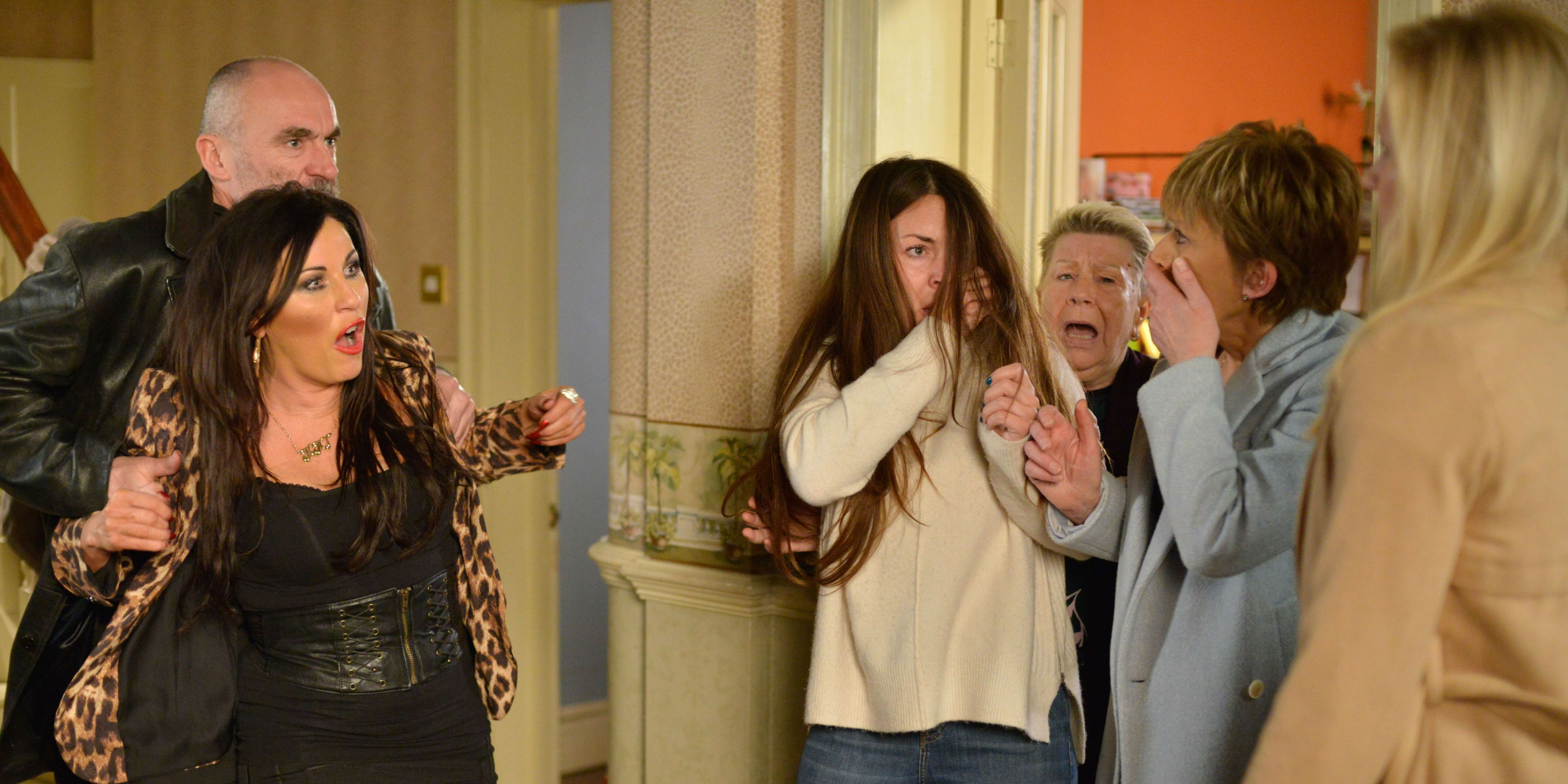 EMBARGO 30/1 The Slaters face Annie in EastEnders