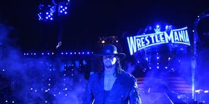 The Undertaker enters the ring at WrestleMania 33 to face Roman Reigns