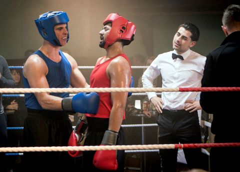 Robert Preston and Zeedan Nazir in the boxing ring in Coronation Street