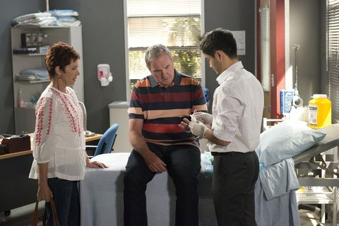 Karl Kennedy suffers a health scare in Neighbours