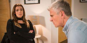Michelle Connor confronts Robert Preston in Coronation Street