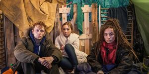 Peri Lomax with Dean and Harley in Hollyoaks