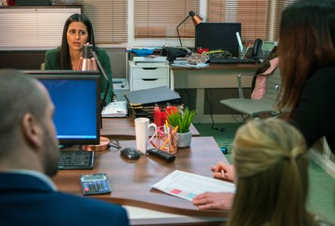 Alya Nazir makes a mistake at work in Coronation Street